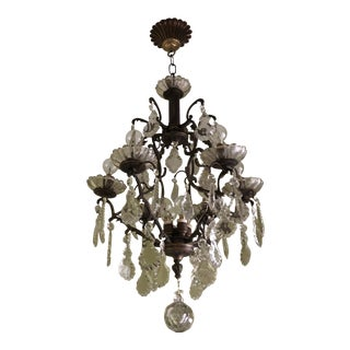 1970s 10 Light Scalloped French Crystal Chandelier** For Sale