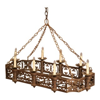 19th Century French Gothic Forged Iron Eight-Light Flat Bottom Island Chandelier
