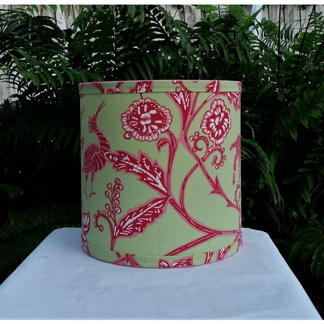 Thibaut Fabric Lampshade Green Hot Pink Tropical For Sale In West Palm - Image 6 of 10