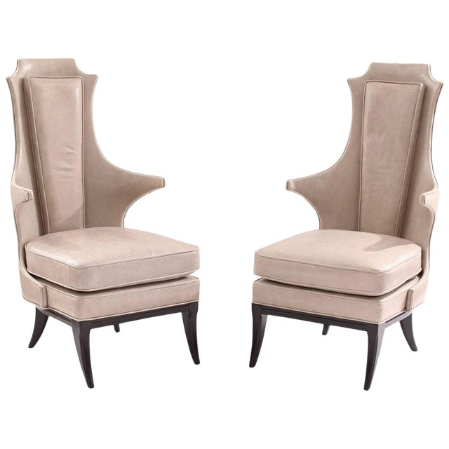 Sculptural Pair of Leather and Ebonized Mahogany Lounge Chairs For Sale