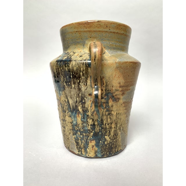 1970s Vintage Two-Handled Studio Pottery Vase For Sale In New York - Image 6 of 12