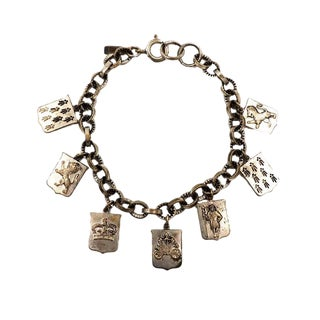 1930s Monet Coat of Arms Charm Bracelet For Sale