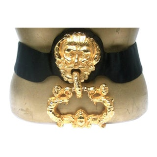 Judith Leiber Massive Gilt Metal Door Knocker Satin Belt For Sale