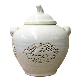 Chinese Off White Light Celadon Porcelain Dragon Foo Dogs Jar Container