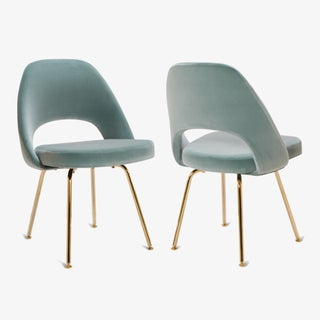 Original Vintage Saarinen Executive Armless Chairs Restored in Celadon Velvet, Custom 24k Gold Edition - Set of 6 Preview