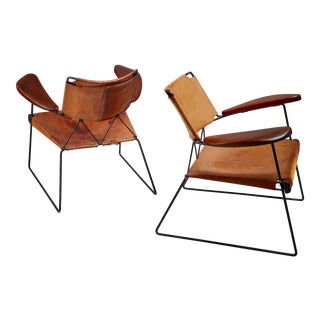Pair of Studio Furniture Chairs with Heavy Saddle Leather, American, 1950s For Sale