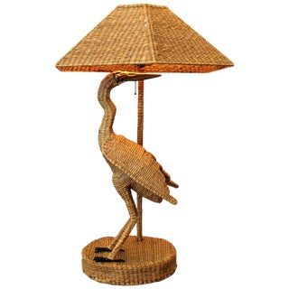 Vintage Mario Lopez Torres Egret Wicker, Rattan Table Lamp, 1974 For Sale