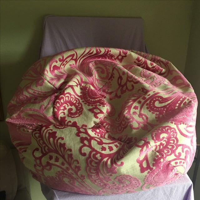 Retro Pink Burnt Velvet Bean Bag Chair - Image 4 of 4
