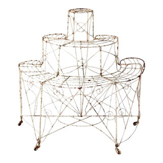 Antique Victorian Wire Metal Plant STand For Sale