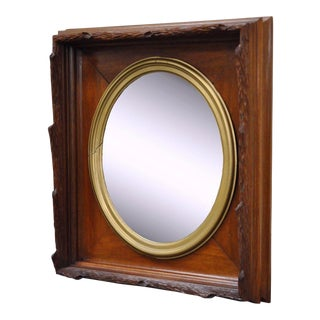 Antique Black Forest Victorian Faux Bois Carved Mahogany & Gold Gilt Mirror For Sale