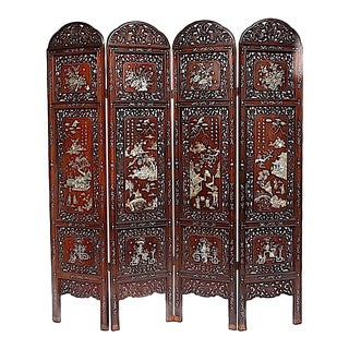 Late Qing Dynasty Antique Chinese Rosewood and Mother of Pearl Four Panel Room Divider, Screen For Sale