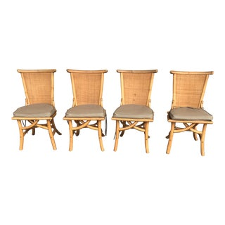 1970s Vintage Pagoda Style Rattan Dining Chairs- Set of 4 For Sale