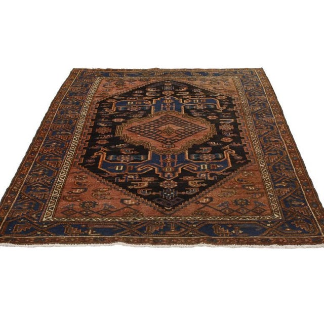 Farmhouse Antique Persian Hamadan Rug with Modern Tribal Style For Sale - Image 3 of 7