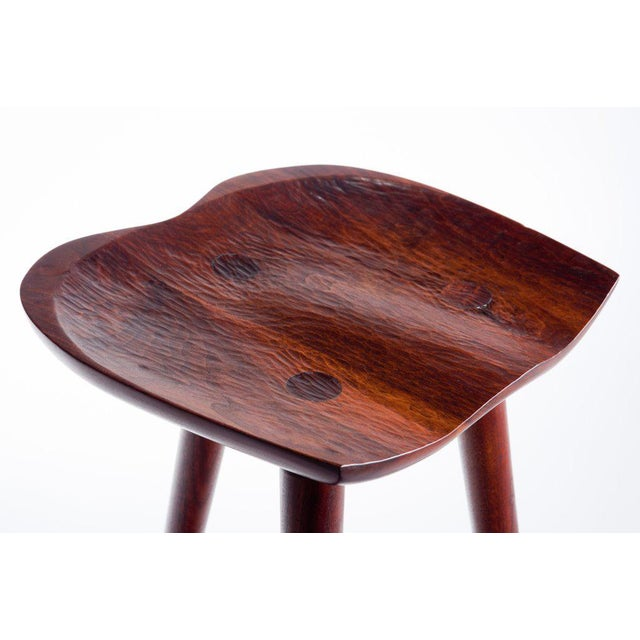 Modern Hand Crafted Stool in Walnut For Sale - Image 3 of 9