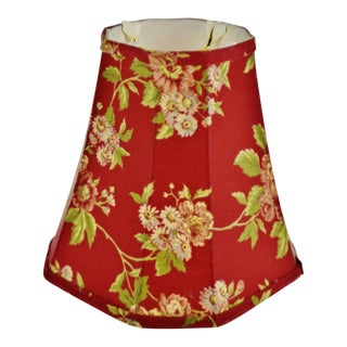 Vintage Small Bell Shape Floral Design Fabric Lamp Shade For Sale