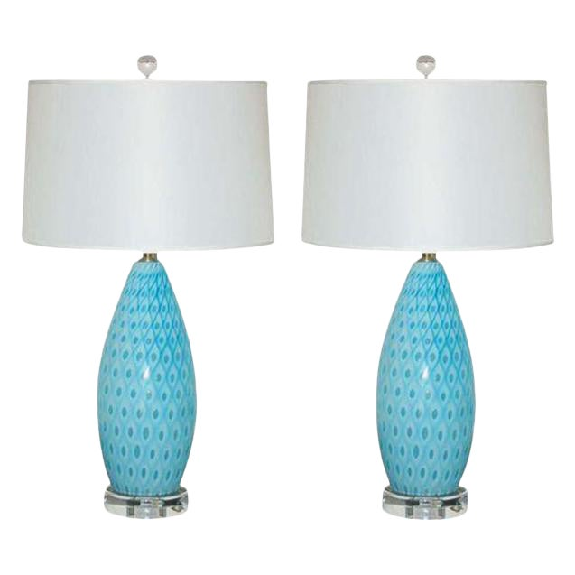 Galliano Ferro Vintage Murano Glass Table Lamps Blue For Sale - Image 9 of 9