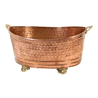 Late 20th Century Copper Hand Hammered Planter For Sale