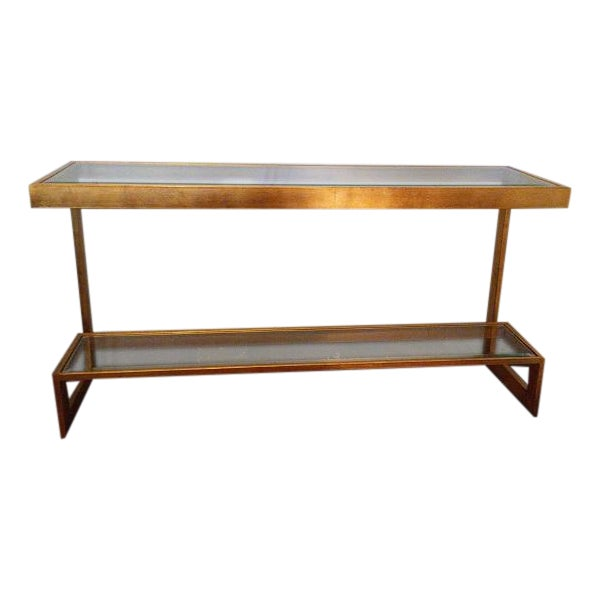 Contemporary Gilt Metal and Glass Console - Image 1 of 6