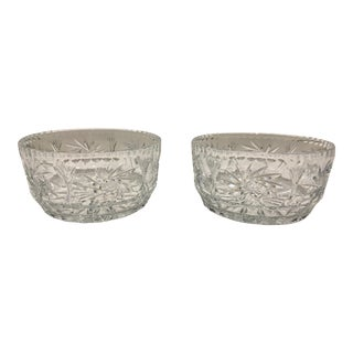 Clear Cut Crystal Bowls - A Pair For Sale
