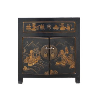 Oriental Black Lacquer Golden Scenery Graphic End Table Nightstand For Sale