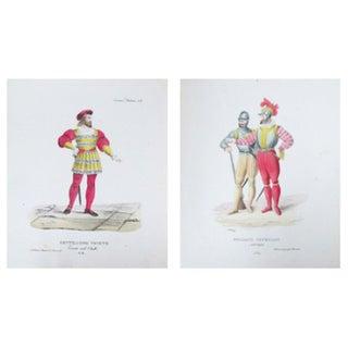 Antique 1799 Venetian Gentlemen Prints - A Pair