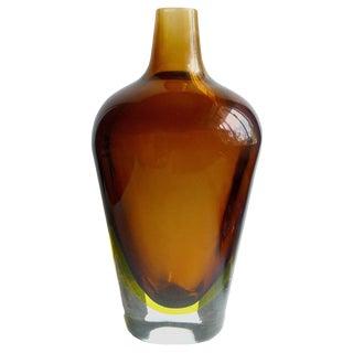 Flavio Poli Seguso Murano Sommerso Amber Yellow Italian Art Glass Flower Vase For Sale