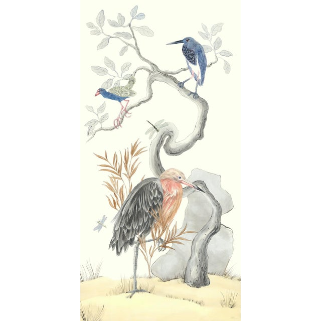 """Chinoiserie Style Bird Painting, """"I've Never Been More Shore"""" For Sale"""