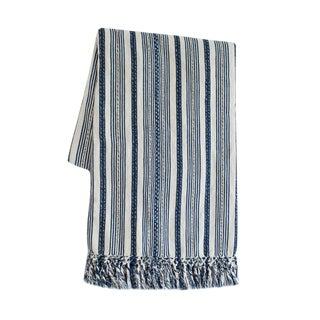 Indigo Blue Striped Guatemalan Blanket