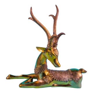 Oversize Brass Thai Reindeer For Sale