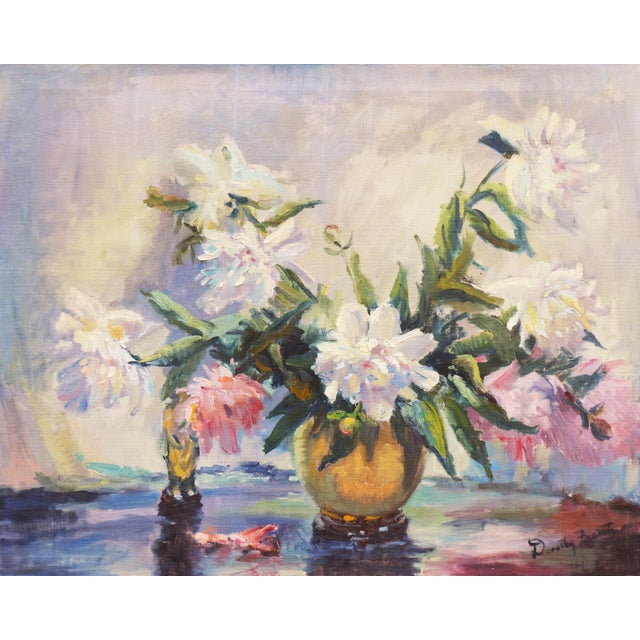 'Pink and White Dog Roses' by Dorothy Frants, 1960; Oil Still Life, Chicago Woman Artist For Sale