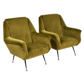Green Mid-Century Velvet Armchairs - a pair For Sale