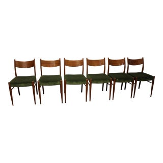 Set of 6 Mid-Century Danish Modern Teak Curved Back Dining Chairs