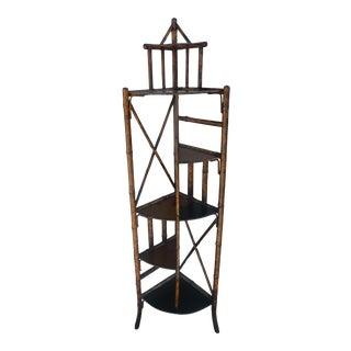 19th Century Victorian Bamboo Corner Etagere For Sale
