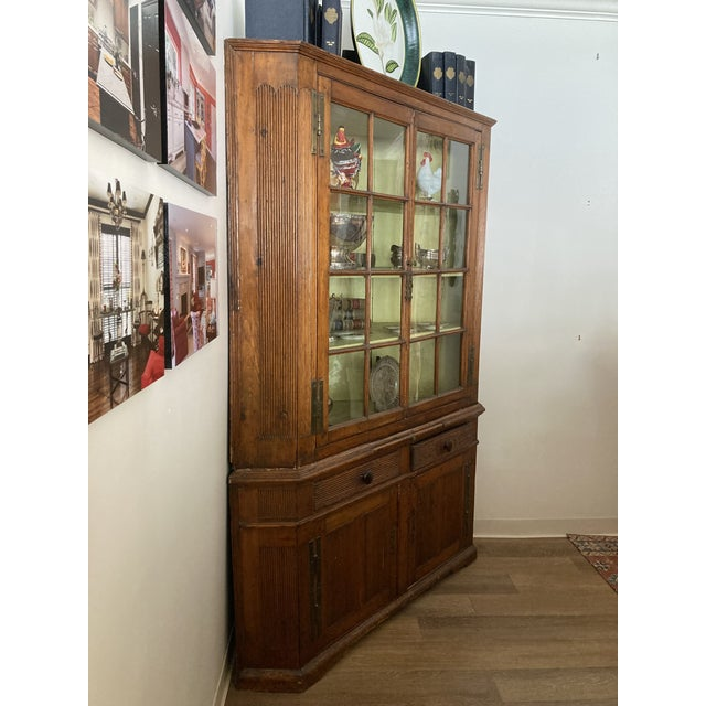 Pine Corner Cabinet With Wavy Original Glass For Sale - Image 4 of 8