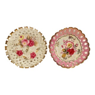 Vintage Lm Royal Halsey Fine China Tea Saucers with Rose Pattern - a Pair For Sale