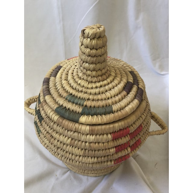 This MOST INTERESTING vintage Jar & Lid Basket was hand woven from natural fiber. It is approximately 40 years old and was...