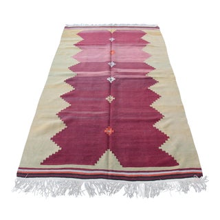 "Decorative Turkish Vintage Floor Kilim - 8'5"" x 5'2"""