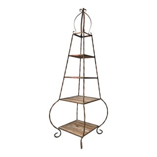 Early 20th Century Garden Wrought Iron Etagere For Sale