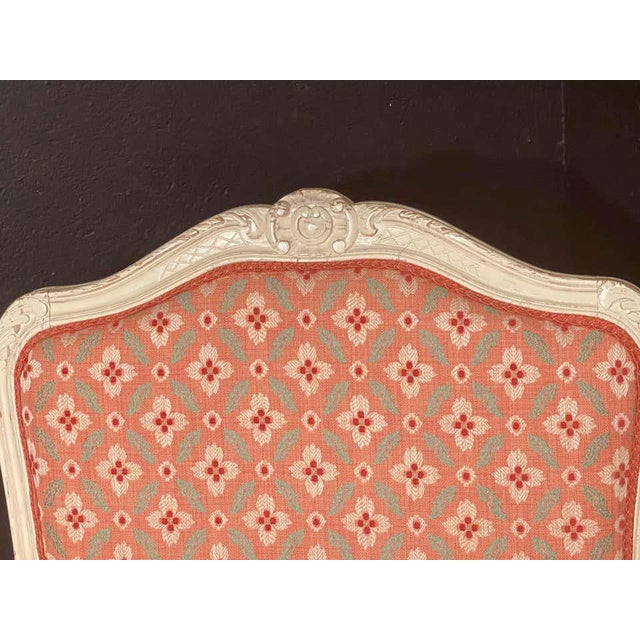 Textile Louis XVI Painted Bergère or Lounge Chairs, Scalamandre Upholstery - a Pair For Sale - Image 7 of 13