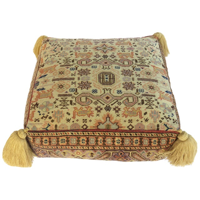 Vintage Turkish Honey Wool Pouf For Sale In Los Angeles - Image 6 of 8
