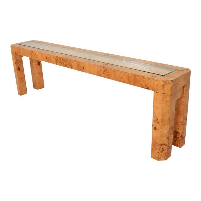 XL Mid Century Modern French Custom Ash Burlwood Console Table For Sale