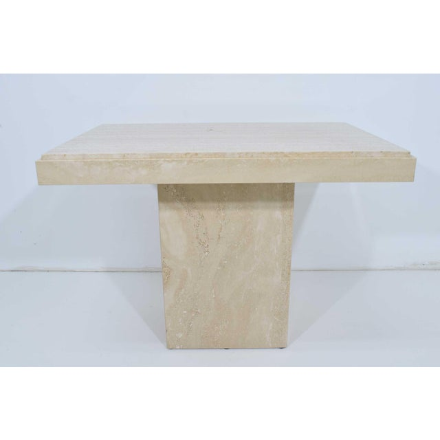 Travertine Marble Side Table For Sale - Image 9 of 9