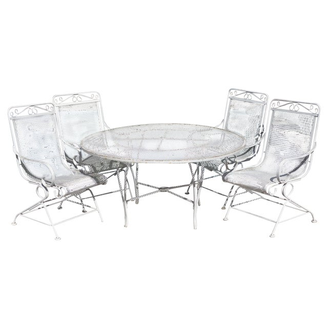 Vintage Patio Mesh Table & Bouncer Chairs - S/5 - Image 1 of 7