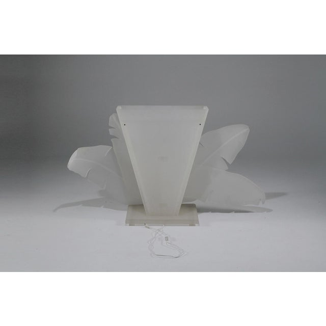 1970s Mid-Century Modern Luminous Electrified Frosted Lucite Palm Motife Console Table For Sale - Image 10 of 13