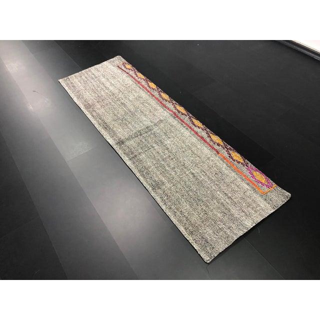 1960s Vintage Turkish Handwoven Aztec Corridor Kilim Rug - 2′3″ × 7′3″ For Sale - Image 5 of 11