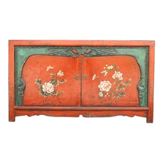 Vintage Painted Floral Chinese Cabinet For Sale
