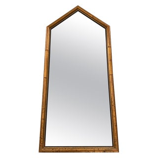 1960s Italian Gilt Faux Bamboo Pentagonal Mirror For Sale