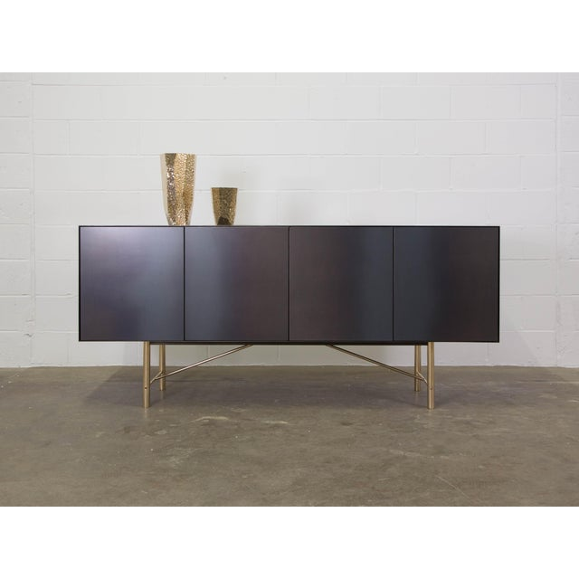 Gold Connect Credenza Sideboard Customizable in Steel and Polished Bronze For Sale - Image 8 of 8