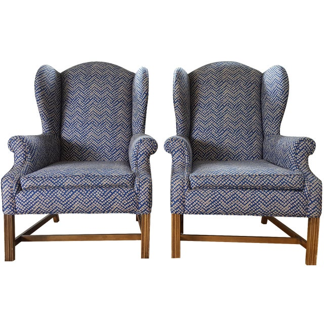 Chippendale Wingbacks in Navy Tribal - A Pair - Image 1 of 8