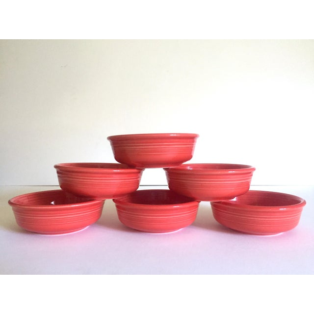 Orange Vintage 1980's Fiesta Ware Homer Laughlin Persimmon Coral Coupe Cereal Soup Bowls - Set of 6 For Sale - Image 8 of 13